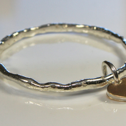 Heart of Silver & Gold - a 'Raw Element' Charm Bangle