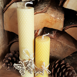 3 x Extra Large Handmade Pure Beeswax Candles - Nature Inspired