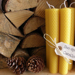 5 x Medium Handmade Pure Natural Rolled Beeswax Candles