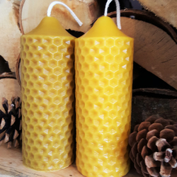 100% Pure Solid, Honeycomb, Moulded Pillar Candle, English Natural Beeswax