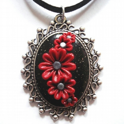Sparkling Red and Black Flower Applique Clay Pendant