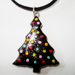 Shimmering Black Christmas Tree with Sparkly Snowballs Polymer Clay Pendant