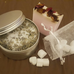 Share The Love Gift- Rose Petal Soap, Coconut Bath Melts and Lavender Salts