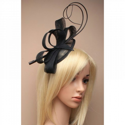 Large Black Fascinator, Wedding Fascinator, Hair Band, Race Day hatinator