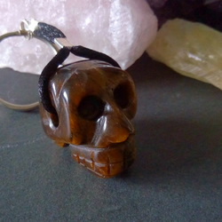 Tigers Eye Skull Keyring or Bag Charm