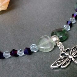 Fluorite and Dragonfly Bracelet