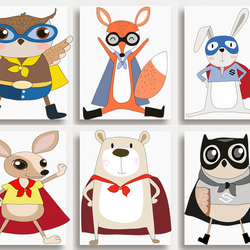 Set of 6 Animal Superheroes PRINTS - no frames