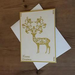 Intricate Die Cut Stag Christmas Card - gold