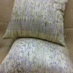 Hand Block Printed Silk Purple Gold Cushions