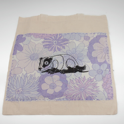 Unique Screenprinted Badger Eco Cotton Tote Bag with Vintage Purple Fabric
