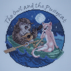 KL145 The Owl and the Pussycat Cross Stitch Kit designed by Vanessa Wells