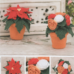DMC Flower Pots Amigurumi Crochet Pattern - Poinsettia and Begonia