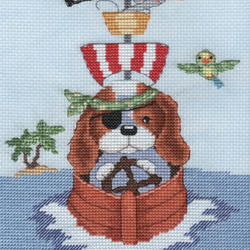 KL150 Pirate Boat  - Sam & Peeps Cross Stitch Kit designed by Genny Haines