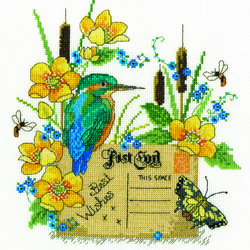 DMC BK1663 Kingfisher Cross Stitch Kit designed by Lesley Teare