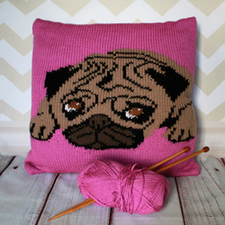 Knitting Pattern PDF - Percy the Pug Cushion Cover