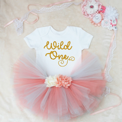 Wild One Baby Girls Outfit Set Coral & Blue Tutu