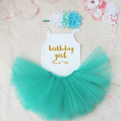Birthday Girl Baby Girls Outfit Set Turquoise Tutu
