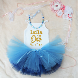 Personalised One First Birthday Baby Girls Outfit Set Blue Tutu