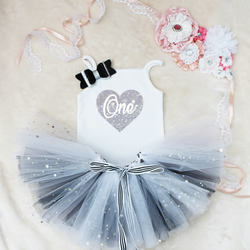 One Heart First Birthday Baby Girls Tutu Outfit