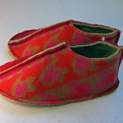Felted Red Wool Slippers - Size 3-4 UK