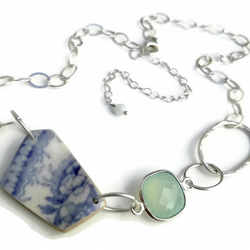 Sterling Silver Asiatic Pheasant Pottery Shard and Aqua Chalcedony Necklace