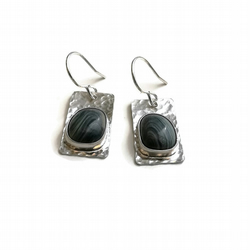 Upcycled Industrial Iron Scoria Glass Sterling Silver Drop Earrings