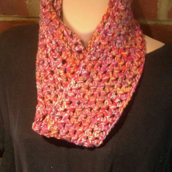 Crocheted scarf-snood