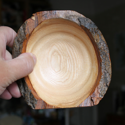Ash Bowl with Bark and two flat sides