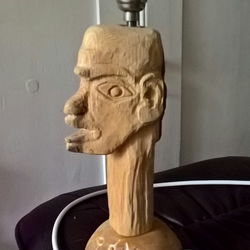 Side Lamp, hand carved from Ash 335mm tall
