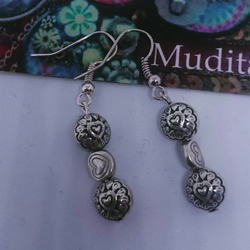 Lovely Dangly Sterling Silver Earrings with Hearts