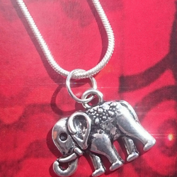 Lucky Elephant Charm on a Sterling Silver Chain
