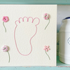 Hand Stitched Card. New Baby Card. Baby Shower Card.  Baby Girl Card. Blank Card