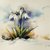 Snowdrops, Original Watercolour Painting.