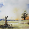 Hare on South Downs, Original Watercolour Painting. Commission Painting.