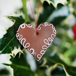 Christmas heart cookie ornament, Gingerbread tree ornament or magnet