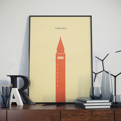 A3 Venice, St Mark's Campanile Tower, Print. Poster.