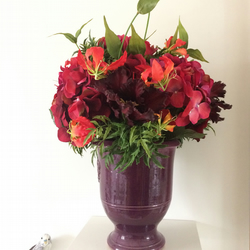 Red Hydrangeas and Black Parrot Tulips Large Artificial Flower Arrangement