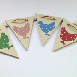 Chicken Polka Dot Wooden Bunting