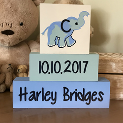 Baby Personalised Shelf Decor Blocks