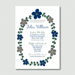 Printable Sweet boys flower christening baptism holy communion birthday invite