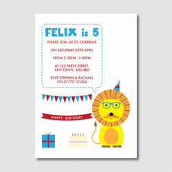 Printable Children's hipster lion print your own party invitation PYO DIY