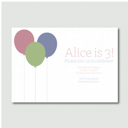 Printable Sweet children's balloon party invitation pyo diy invitation girls