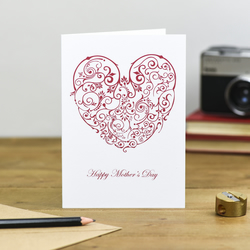 Intricate Red lace style heart Happy Mother's Day card