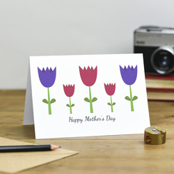 Modern Tulips Happy Mother's Day Card mummy mum mom mommy