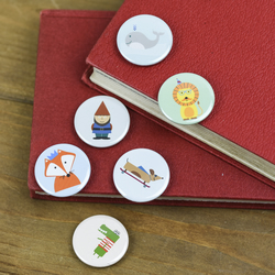 Birthday Fox Whale Gnome Hipster Lion Crocodile Super Clever Sausage Dog badges