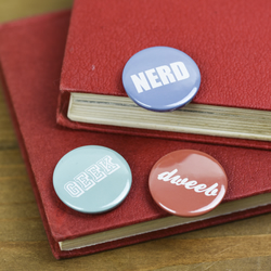 Geek Nerd Dweeb Geek Chic Typography Pin Badge Button pack