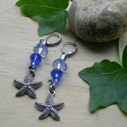 STARFISH EARRINGS - NAUTICAL - BEACH - BLUE