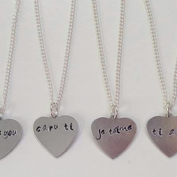 Personalised stamped heart pendant on sterling silver necklace chain