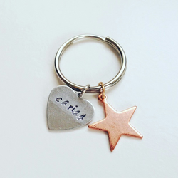 Personalised hand stamped name keyring heart & copper star