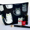 Makeup bag, black and white cats